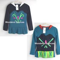 new 2015 girls children hoodies Snow Queen Elsa and Anna long sleeve tops cartoon sweatshirts clothing baby kids hoody