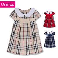 OneToo Brand 2015 New arrival Girls' dress Princess Lace belt Short Sleeve dresses Children Summer Wear Cute Free shipping