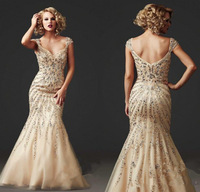 Luxury 2015  Mermaid Floor Length Mermaid Prom Dresses Stylish Crystal Cap Sleeve Prom Dresses Long Pageant Gowns