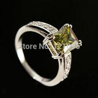 Fashion cut white topaz Gemstones S80 Silver Ring Size+26