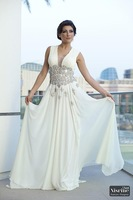 Cheap Sleeveless Floor Length Prom Dress Chiffon Applique Long  Party Gown