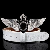 5 color abc punk fashion individuality wing belt for men hip hop boy genuine leather luxury men belt brand cinto masculino belts