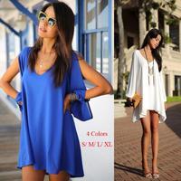 Summer 2014 New Fashion Casual Dress Women Chiffon V neck Long Sleeve Evening Sexy Party Dresses Brand Clothing Ladies Vestidos