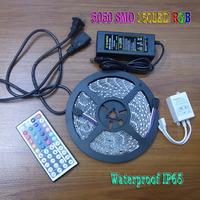 5050 RGB LED Strip Flexible Light Tape Set 5M 150 LEDS 30LED/M Waterproof IP65 44 Keys IR Remote Controller 12V 5A Power 50% off