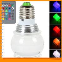 170 Degree 3W E27 2835 RGB LED Lamp Bulb 16 Color Change LED Light Bulb Acrylic Ceiling LED Lamp + Remote Controller