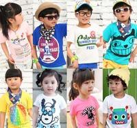 otton 2015 summer children t-shirt child tops tees kids clothes boys blouse girls short sleeve t shirt  cartoon hegao