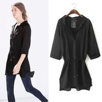 Drop Shipping Women Black Chiffon Blouse Ladies Long Sleeve Chiffon Down Casual Shirt Tops Blouse Plus Size Brand shirts