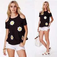 2015 Women Sunflower Embroidery Chiffon Jeans Short sleeve Off-The-Shoulder Blouse Ladies Shirt Blusas Femininas Free Shipping