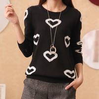 FS-2715 Korea Style Heart Women's Winter Sweater Long Sleeve Knit Cardigan Sweaters