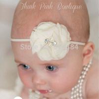 Retail Newborn Baby Girls chiffon Flower Headbands With Rhinestone Infant Baby Headband 10Piece