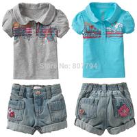 freeshipping!2015 brand girl clothing set summer baby & kids animal print Leopard pattern T-shirt + short jeans pants girls sets