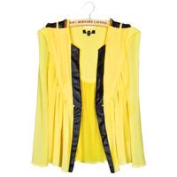Free shipping 2015 fashion women's silk chiffon cardigan casual shirt epaulettes PU leather lace shirt thin section  yellow red