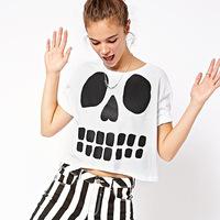 women fashion tee shirt women summer tops,black skull shirt crop top loose tops,cc shirt,blusa feminina
