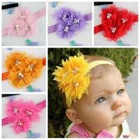 Hot sale three mesh baby headband pearl center girls princess  elastic headbands 1PCS