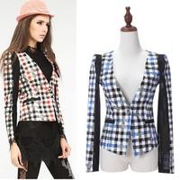 Free Shipping Spring Autumn Europe America One Buckle V-Neck Plaid Blazer Female  Wholesale Clothing
