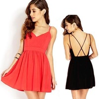Vestidos Summer 2014 New Fashion Casual Spaghetti Strap Dress Chiffon Backless Sexy Dresses Holidays Women's Clothing Ladies HOT
