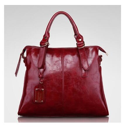Genuine leather women's handbag 2015 new style female bag fashion casual bag oil waxing leather bag portable messenger bag(China (Mainland))