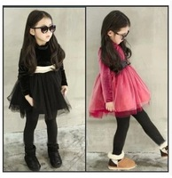 New arrival 2014 winter baby girl high waisted dress plus velvet thickening lace dress with bow sashes children's princess dress