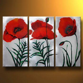 3 pcs pintados à mão pintura a óleo moderna Canvas da pintura da flor arte decorativa imagem pintura em tela Magenta Poppies(China (Mainland))