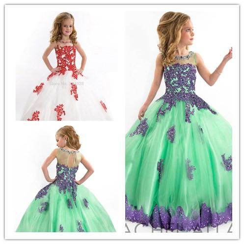 2015 filles. concours. robe de bal robes col haut bleu vert rouge