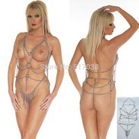 Steel chain Metal fetish bondage restraint sexy dress & chastity belt set Adult Sex Game Toys for women Couples slave costume
