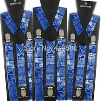 BD021-- Hot Fashion asjustable Denim print Color suspenders 100cm length 2.5 width 3 Clips braces free shipping