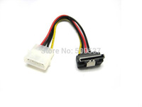 High quality big 4pin to 15pin right-angle SATA with clip power cable ,free shipping 1pcs/lot