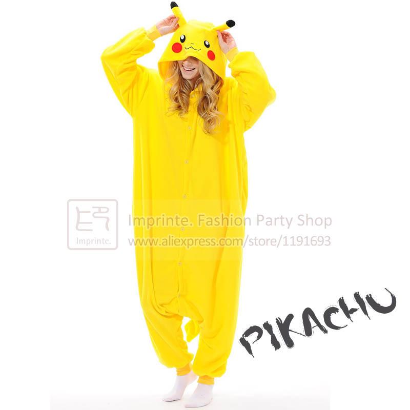 Pikachu Onesie Adult Anime Pokemon Costume Fleece Winter Sleepwear Pajamas Cute Unisex Onesie(China (Mainland))