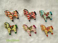 Wholesale -  Cartoon  multi colors stripe horse  button DIY SEWING Craft supplies 28x25mm
