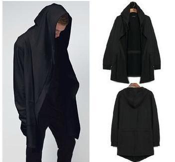 Оригинальный дизайн мужская одежда толстовка весна осень капюшоном мужчин капюшоном кардиган мантиссы черный плащ верхняя одежда негабаритных 6-108