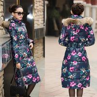Women's winter coat long section raccoon fur collar down padded cotton coat big yards long coat . Free Shipping