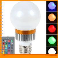 E27 120 Degree 3W SMD 5730 RGB LED Lamp Bulb AC 85V-265V 16 Colors Changeable Epistar LED Bulb Light RGB + Remote Control