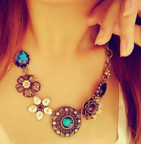 Retro Vintage European Style Gorgeous Austria Turquoise Crystal Flowers Bib Chain Statement Necklace for Wedding Party