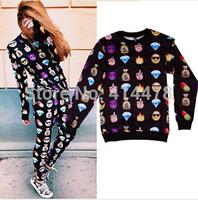 New Top 2015 Women's emoji hoodie Sweatshirt 3d Printed emoji sweatshirts Hoodies sport clothes Casual jogging cotton Tops S-XL