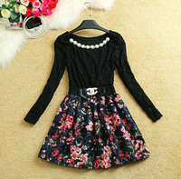 High Quality 2015 winter hot-selling Fashion women sweet princess dresses long sleeve round collar Embroidery casual dress 2510