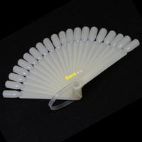 20tips/set Pro Polish Gel Practice Sticks Tool Fan Board False Nail Art Tip Display DIY Natural #NAO012