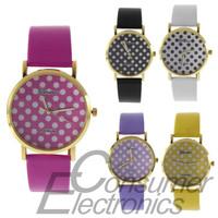 1Pcs 2015 new woman Colorful Girl's Women's Sweet Small Dots Geneva Leather Quartz Wrist Watch Newest