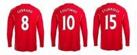 camisa melhor 2015 Liverpool Casa longo vermelho da luva de Futebol 14 15 tailandesa Qualidade Football Club Jersey