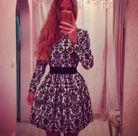 S-XL 2015 European and American high-end porcelain Hitz Slim dress ladies print long sleeve dress#JM990