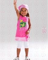 2015 Summer Baby Girls Clothing Set Fashion Frog Vest Shirts+Pants+Scarf Three Pieces Set Cute Girl Summer Clothing c20
