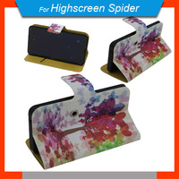 New items Free Shipping 360 Degrees Rotating Cartoon Case PU Universal Stand Case + Free Gift For Highscreen Spider
