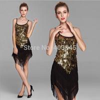 Girls Sequins Latin Dance Dresses Tassel Dance Skirt  Cocktail Club Wear 9 Colors Free Shipping
