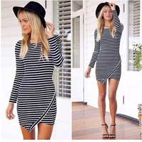 Hot!Dropshipping!Trendy Women's Slim Striped Casual Vestidos Long-sleeve O-neck above knee  Flouncing dress Party Dress cloth019