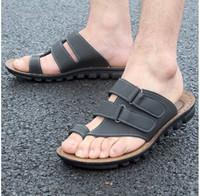2015 New Men's Summer Multi-function Genuine Leather Casual Beach Sandal Flip Flops  Slipper E058