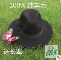 Pure wool cap plus size fedoras black fashion hat billycan seniority fur