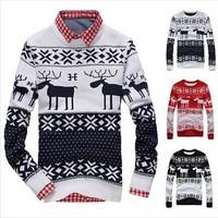 New 2014 Fahion Winter Warm Wool Knitted Mens Ugly Christmas Deer Sweater Crewneck Long Sleeve Reindeer Pullover Knitwear