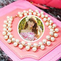 (Minimum order of $10) High-quality temperament bride pearl Rhine stone necklace
