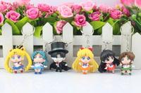 DHL 200sets Anime Sailor Moon Q Verison Mars Jupiter Venus Mercury Keychain Pendant Action Figures Toys Dolls 6pcs/set