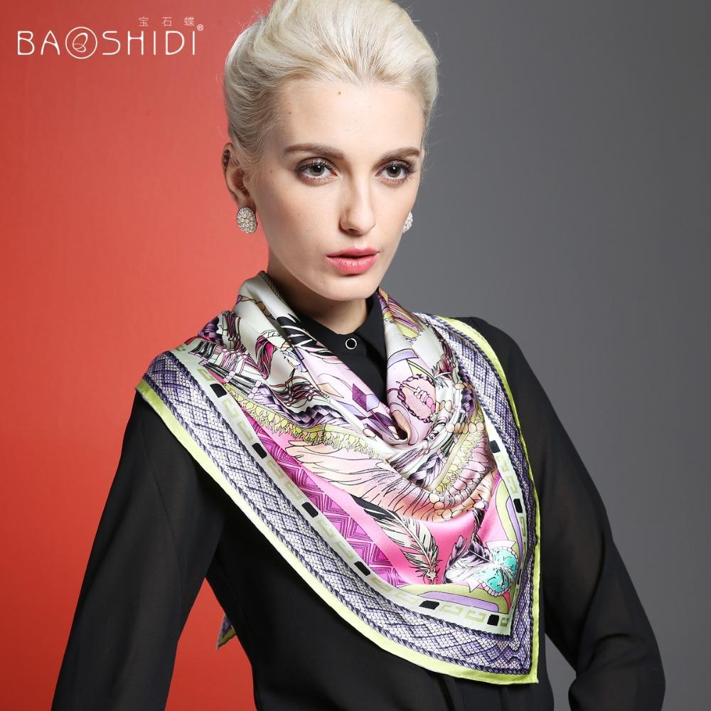 100 Silk Crepe Satin Plain Large Square Scarves 90 x 90cm brand square scarf(China (Mainland))