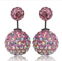 New Fashion Double Side Shining Crystal Pearl 16mm Stud Earrings Big Pearl Ball Earrings For Women